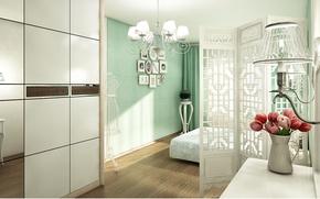 Картинка color, room, interior, bedroom, classic blue