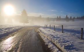 Обои утро, природа, дорога, деревья, рассвет, заборы, дерево, дымка, зима фотографии пейзажи, туманы, Canon EOS 350D ...