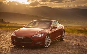 Картинка red, Tesla, Model S, P85
