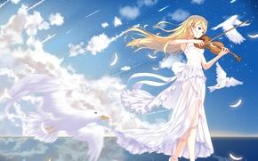 Картинка девушка, скрипка, голуби, anime, art, Shigatsu wa Kimi no Uso, Kaori Miyazono