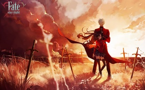 Картинка небо, девушка, облака, закат, оружие, аниме, арт, парень, мечи, fate stay night, archer, toosaka rin, …