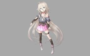 Картинка девушка, юбка, минимализм, сапоги, аниме, стоит, длинные волосы, белые волосы, простой фон