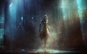Обои девушка, пистолет, дождь, Город, фонари, капюшон, лужи, плащ