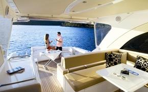 Картинка море, вино, яхта, бокалы, двое