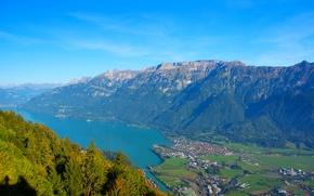 Картинка Швейцария, озеро, городок, вид сверху, горы, панорама, Unterseen