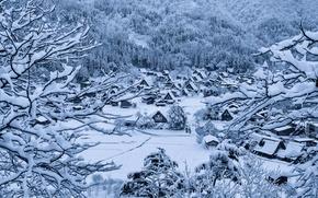 Обои снег, зима, Гокаяма, дома, Сиракава-го, Япония, деревня, остров Хонсю