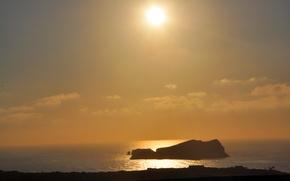 Картинка море, пейзаж, закат, оранжевый, вечер