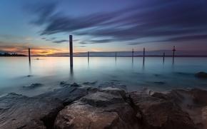Картинка небо, вода, озеро, камни