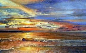 Картинка море, небо, пена, вода, облака, пейзаж, природа, берег, волна, цвет, горизонт, прибой, живопись, Луценко, опаловый …