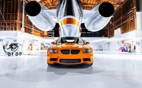 Картинка BMW, ангар, orange, M3 GTS