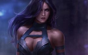 Обои Psylocke, Marvel, девушка, арт, взгляд