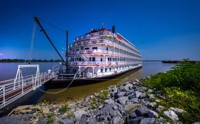 Картинка камни, берег, пароход, трап, Mississippi River, река Миссисипи, Queen of the Mississippi