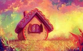 Картинка графика, сказочный лес, сказочный домик, жёлто-розовый фон, фэнтези миры