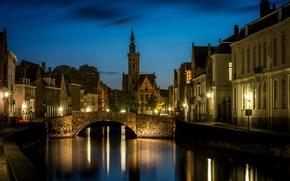Картинка ночь, огни, Брюгге, Санкт-Анна, западная Фландрия