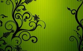 Обои цветы, узор, зеленый, полосы, завитки