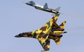 Обои истребители, Т-50, Су-35