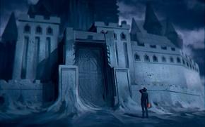 Картинка Romantically Apocalyptic, alexiuss, арт, замок из песка, ведро, замок, человек, Zee Captain