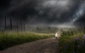 Картинка дорога, тучи, одиночество, ребёнок