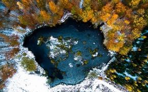 Обои зима, осень, снег, деревья, озеро, краски, вид сверху