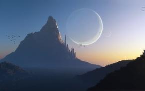 Обои закат, птицы, город, туман, скала, фантастика, холмы, транспорт, планеты, гора, корабли, арт, башни