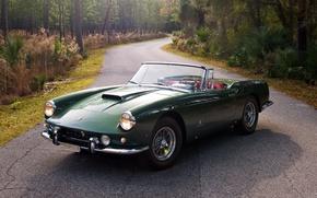 Картинка дорога, лес, фон, Феррари, зелёный, Ferrari, передок, Cabriolet, 1959, 400, SWB, Superamerica, Суперамерика