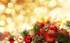 Картинка украшения, шары, Новый Год, Рождество, Christmas, bokeh, decoration, Merry