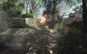 Картинка рисунок, бой, арт, против, танки, на острове, WW2, M4 Sherman, японского, американские, Chi-Ha, Type 97, ...