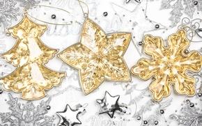 Картинка украшения, снежинки, золото, игрушки, звезда, серебро, елка, Новый Год, Рождество, звёздочки, декорации, ёлочка, Christmas, фигурки, …