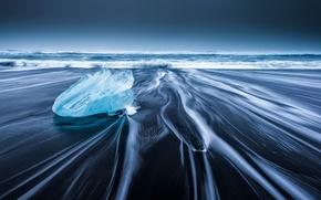 Картинка волны, пляж, лёд, Исландия, ледниковая лагуна Йёкюльсаурлоун