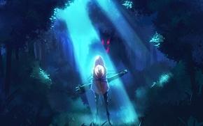 Картинка лес, девушка, свет, деревья, ночь, природа, волк, аниме, арт, капюшон, ladic