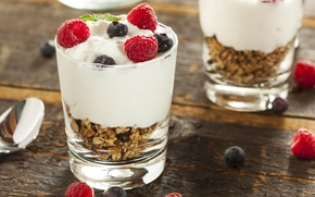 Обои cream, десерт, dessert, fruits, raspberries, черника, малина, фрукты, еда, blueberries, крем