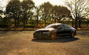 Картинка Audi, black, vossen wheels, frontside