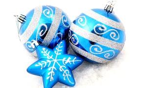 Картинка шары, снежинка, звёздочка, ёлочные украшения