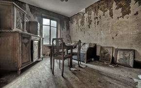 Картинка комната, стол, стул, окно