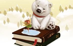 Картинка зима, снег, детство, сказка, фея, подарки, книги. белый мишка