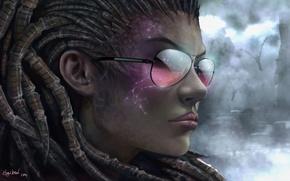 Картинка девушка, лицо, очки, starcraft 2, Sarah Kerrigan, Queen of Blades
