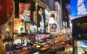 Картинка огни, движение, улица, вечер, Город, City, new york