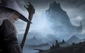Обои шляпа, гора, Erebor, lonely mountain, арт, Gandalf, Хоббит: Пустошь Смауга, The Hobbit: The Desolation of ...