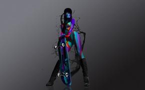 Картинка девушка, краски, сапоги, кляксы, кепка, цветная, скейтборд
