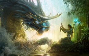 Картинка warrior, artwork, river, Dragon, forest, art, girl, sword, armor, fantasy