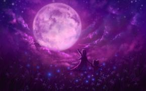 Картинка звезды, цветы, волшебство, луна, поляна, Ночь, мишка, девочка, друзья, маленькая, восторг