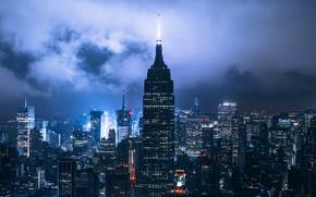Обои США, город, облака, Нью Йорк, ночь, огни