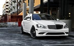 Обои авто, город, обои, 360 forged, белый мерс, черные диски, mersedes s-class