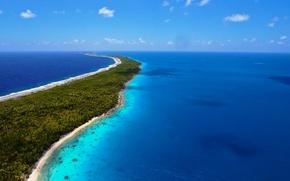 Картинка море, небо, облака, пейзаж, синий, природа, океан, земля, голубой, отдых, остров, красота, курорт