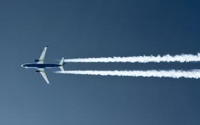 Обои самолет, небо, дымовой след
