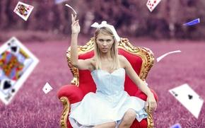 Картинка карты, девушка, настроение, ситуация, кресло, платье