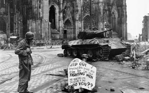 Обои война, солдат, танк, плакат, руины, надпись