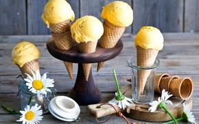Картинка мороженое, рожки, Mango ice cream