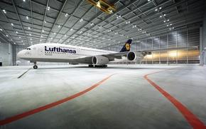 Картинка Самолет, Лайнер, Аэропорт, Ангар, A380, Освещение, Lufthansa, Пассажирский, Airbus