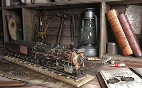 Обои кисти, книги, лампа, инструменты, поезд
